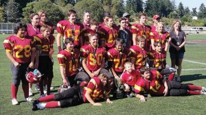 The junior bantam Cowichan Bulldogs celebrate their Silver Cup victory at Westhills Stadium last Saturday.   Photograph By Submitted photo